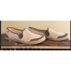 Ugg cream/ brown color block canvas shoe